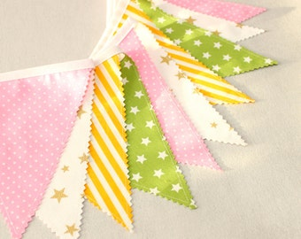 Sweet Fabric Flag Garland, Baby Shower, Baby Girl Nursery Bunting Banner Decoration, Bunting Banner, Girls Room Decor, Easter Garland