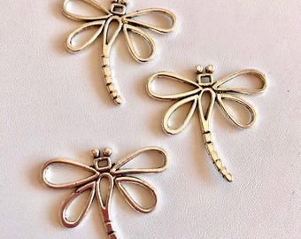 Dragonfly Pendants-Three Pewter Dragonfly Charms
