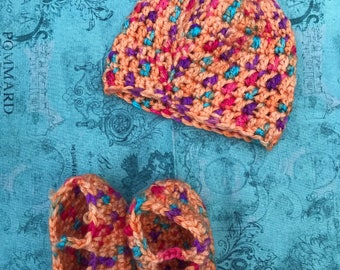 Preemie Hat/ Booties, Crochet Hat, Crochet Booties, Crochet Baby Preemie Set, Hand Made