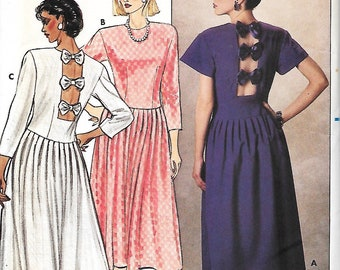 Butterick 3019 Kathryn Conover Misses/Miss Petite Bow Back Dress Sewing Pattern, Size 12, UNCUT