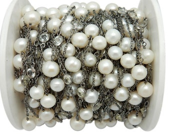 Pearl and White Topaz Rosary Style Beaded Chain - Pearl Beads Wire Wrapped Oxidized Sterling Silver Chain Per Foot - (CHN-630)