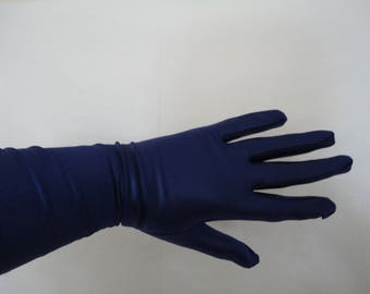 Vintage Dark Blue Stretch Nylon Rubber/Wet Look Over Elbow Gloves - Cornelia James - Size Up to 7.5 - Goth/Steampunk/Burlesque - Unworn NOS