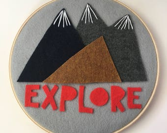 "8"" Explore Mountains Hoop Art- Felt- Hand stitching"