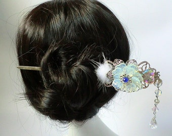 Silver Filigree Opalescent Glass Flower and Heart Chinese Hair Pin Hair stick