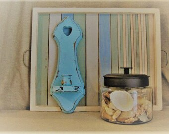 Beach Cottage Blue Wall Sconce Candlestick Holder / Beach Cottage Decor / Shabby Turquoise Blue Candle Sconce