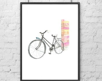 Bicycle Water Color Painting Art Print