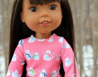 Fits like Wellie Wishers Doll Clothes - Pink Snowmen Long Sleeve Tee | 14.5 Inch Doll Clothes