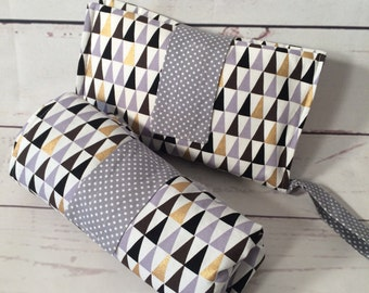 Large Waterproof Changing mat Grey and gold triangles or set with nappy wallet / diaper clutch modern, cotton, padded