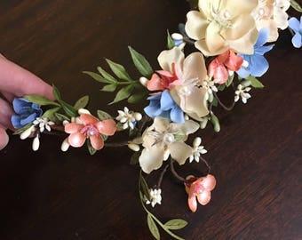 bridal hair vine, floral hair clip, peach hair piece, peach wedding, light blue wedding, peach and blue headpiece, light blue hair piece