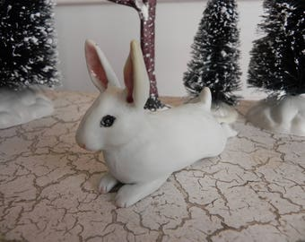 white porcelain snowshoe bunny rabbit figurine staue sculpture