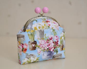 Kisslock Metal Frame Clasp Purse, Floral Cosmetic Bag, Gift For Her, Makeup Bag, Shabby Chic Purse, Retro Cosmetic Bag