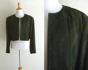 80s Dark Green Suede Boxy Cropped Shrug Wilson Leather Size Large XL