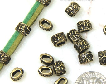 Barrel Beads, Jardin Barrel Pinch Beads, Dulce Vida Collection, TierraCast, Antiqued Brass, Leather Findings, 4 Or More Pcs, 0927