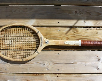 Gray Russell Tennis Racquet/Racket, Hardwood and Leather Elverys Matchply 1960s