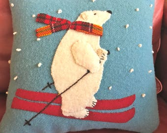 SKIER BEAR PILLOW