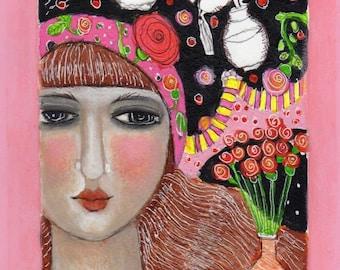 mixed media illustration painting  girl woman whimsical flowers paper fancy girl perfume original modern folk art paper
