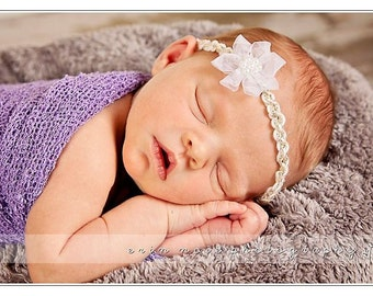 Gold and Pearl White Flower Headband