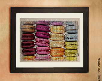Macarons print kitchen decor food art kitchen art upcycled vintage dictionary page French Macaroons da227