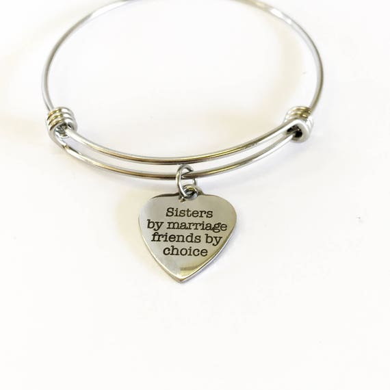 Sisters By Chance Friends By Choice Stacking Expanding Bangle Charm Bracelet, Sister In Law Valentine Gift, Wedding Party Gift, Jewelry Gift