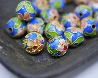 Chinese Cloisonne Beads 8mm Gold Sky Blue Cloisonne Bead Enamel Beads Metal Beads (6 beads) CL20
