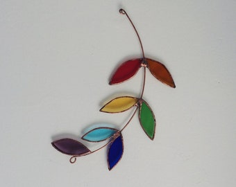NEW - Rainbow Olive Branch - suncatcher - stained glass - proceeds to charity - eco friendly