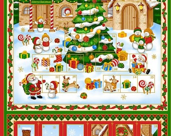Christmas Advent Calendar Fabric Panel, Cotton Quilt Fabric by Fabri-Quilt