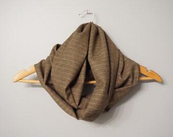 Sale - Infinity Scarf - Winter Infinity Scarf - Wool Blend Infinity Scarf - Brown Striped Infinity Scarf, Fashion Scarf