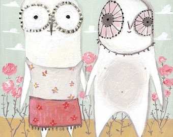 Owl ACEO Print - Holding Hands Owl Art Artwork - Sweet