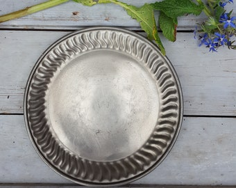 Pewter Plate, French Country Dinnerware, Antique Italian Rustic Metal Plate, Serving Platter, Mid Century, Shabby Chic, Food Prop