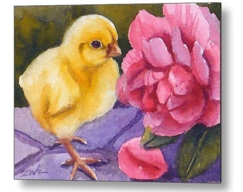Baby Chick Pink Rose  Print on Wood Printed Animal Art by Janet Zeh Zehland