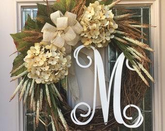 Cream Hydrangea Front Door Wreath-Spring Front Porch Wreath