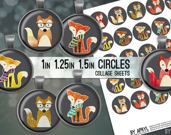 "Fox Watercolor Glitter Digital Collage Sheets 1 inch 1.25"" and 1.5"" Circles Printable Download for Pendant Magnet Bottle Cap Necklaces JPG"