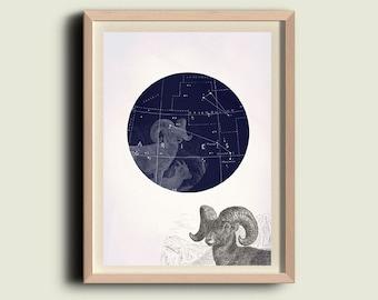 Aries art print Astrology art print Zodiac art print Astrological sign