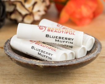 Vegan Lip Balm - Blueberry Muffin Flavoured - Natural Oils & Butters with Vitamin E - Handmade Vegan Beauty and Skincare - Made in Australia