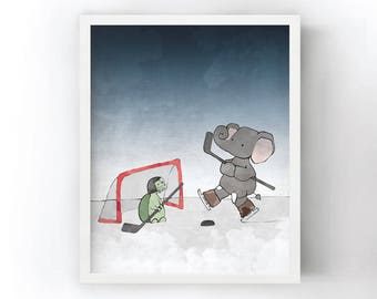 Elephant and Turtle Playing Hockey