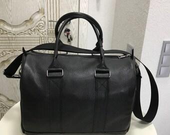 Mens overnight bag | Weekend luggage | Black leather holdall | Day bag | Shoulder Bag | Diaper bag | Leather handbag | For him
