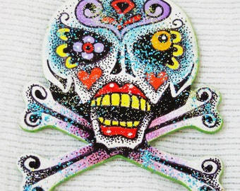 Skull and Cross Bones Dia de los Muertos Day of the Dead Halloween Ornament - Hand Drawn and Painted - One of a Kind