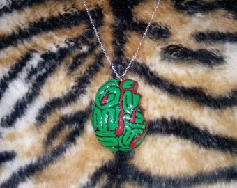 Zombie Brain Bite Necklace