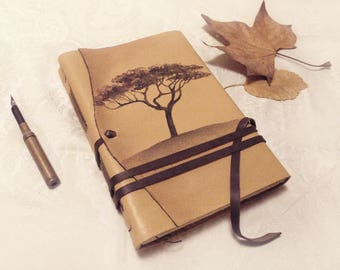 large beige leather journal with vintage style paper - leather diary - painted cover, The dreamer