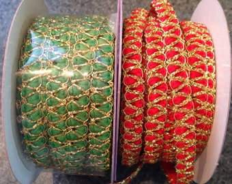 """Woven cord 3/8"""" in red and green"""
