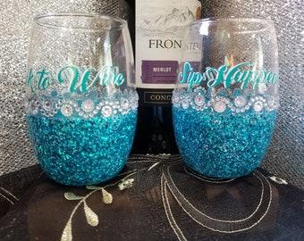 Turqoise Blue Glitter & Bling Stemless Wine Glass Set