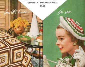 FREE US SHIP Star Book 116 Crochet Fashions 1950's Mid Century Modern Beret Hat Bedspread Handbag Gloves Luncheon Sets Hot Plate Mats