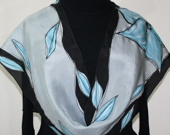 Gray Black Silk Scarf Hand Painted Silk Shawl CRYSTAL FLOWERS, in 3 SIZES. Mother Gift, Bridesmaid Gift, Anniversary Gift, Christmas Gift