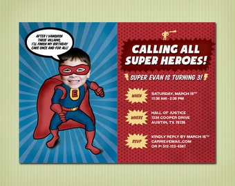 digital super hero birthday invite