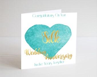 Silk 12th Wedding Anniversary Card - Twelfth Year Anniversary Greeting Card - Twelth Years Together - Heart Watercolour 12 Anniversary Card