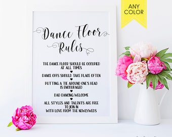 Wedding Dance floor rules Reception Decor ideas Wedding decor Wedding dance sign Wedding print Rustic wedding country DIYwedding day signs