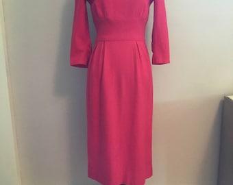 1950s bright pin pencil dress