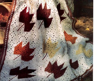 Hand Crocheted Fall Leaves Afghan Made to Order Birthday Housewarming Mothers Day Fathers Day Wedding Shower
