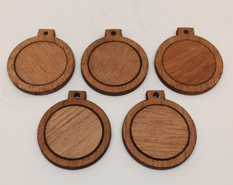 Mini wood embroidery hoop/frame for diy pendant/xmas ornaments (1 inch only!) - [2-pieces, Finished] - Bundle sets of 5/10/15/20