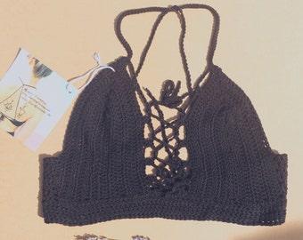Black Lace-up Crochet Bra Top